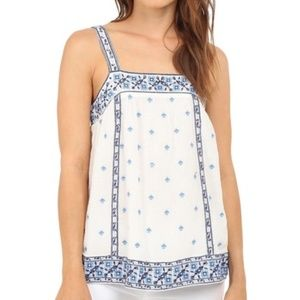Joie Magali Embroidered Cotton Gauze Tank Top